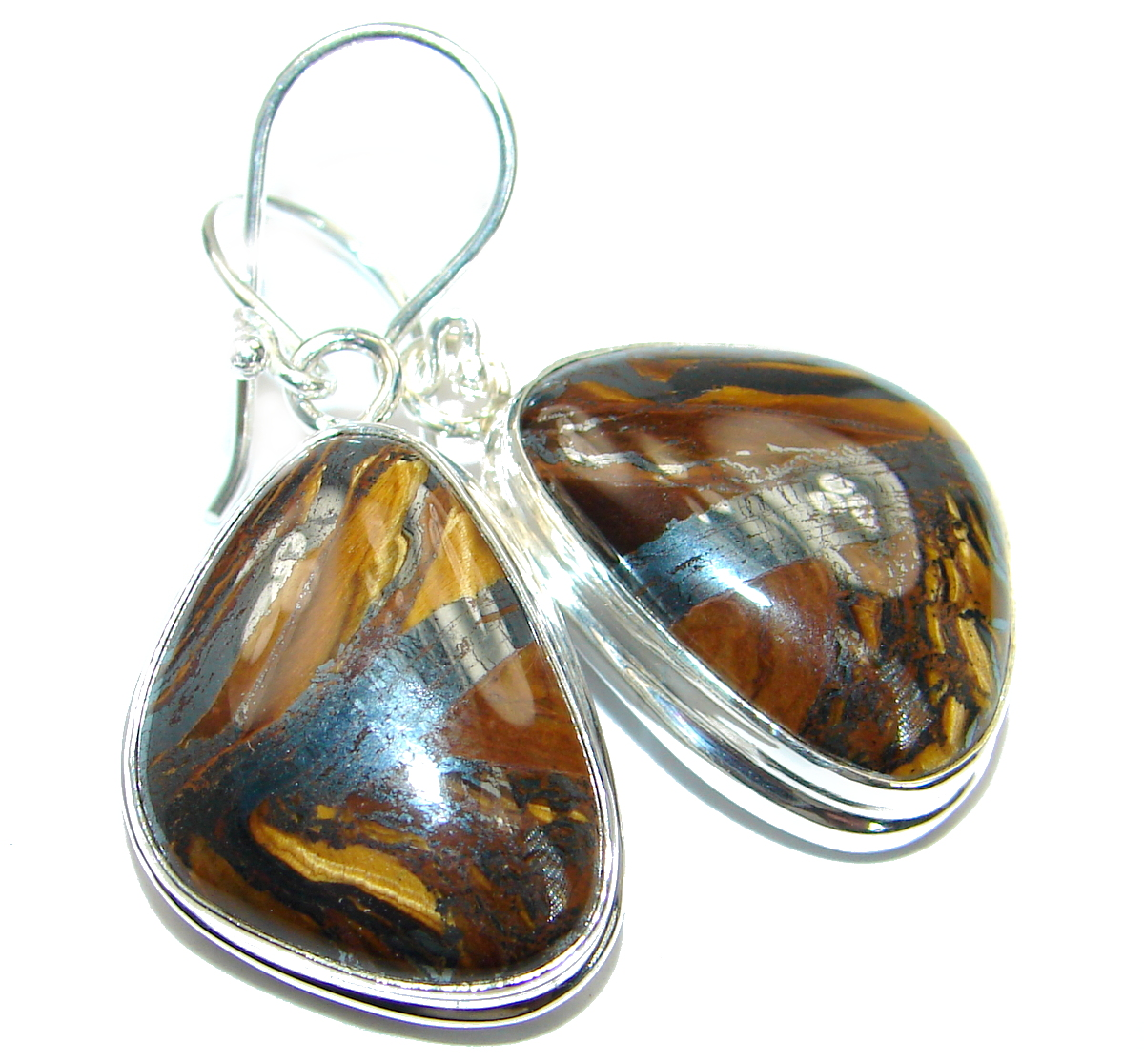 Genuine  Golden Tigers Eye  .925 Sterling Silver