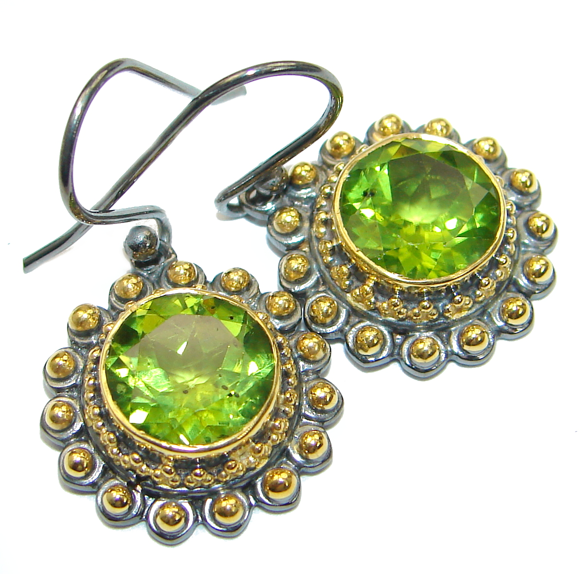 Bali Treasure Precious Peridot .925 Sterling Silver handcrafted earrings