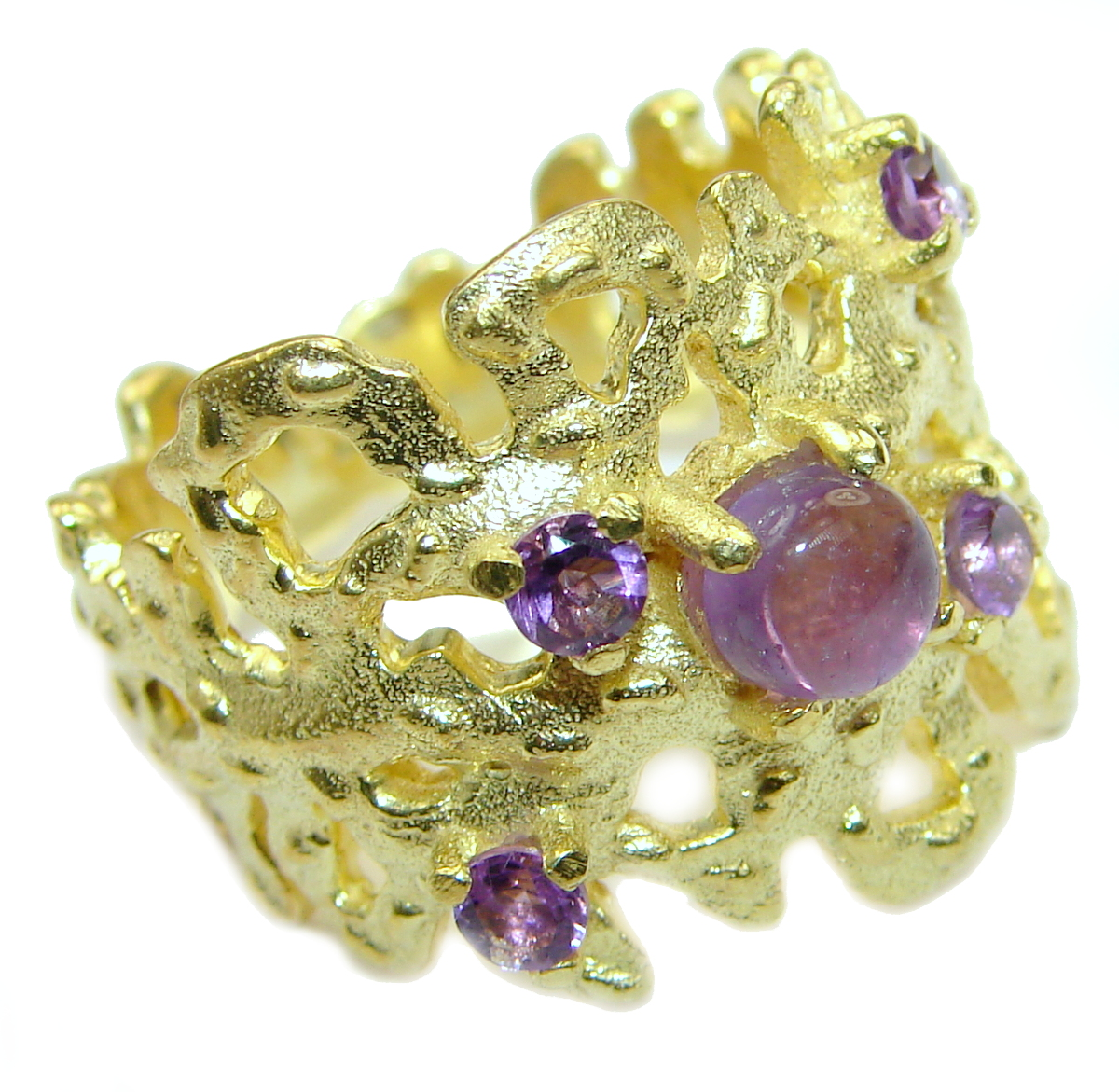 Natural Amethyst 14K Gold over  .925 Sterling Silver handmade Cocktail Ring ..