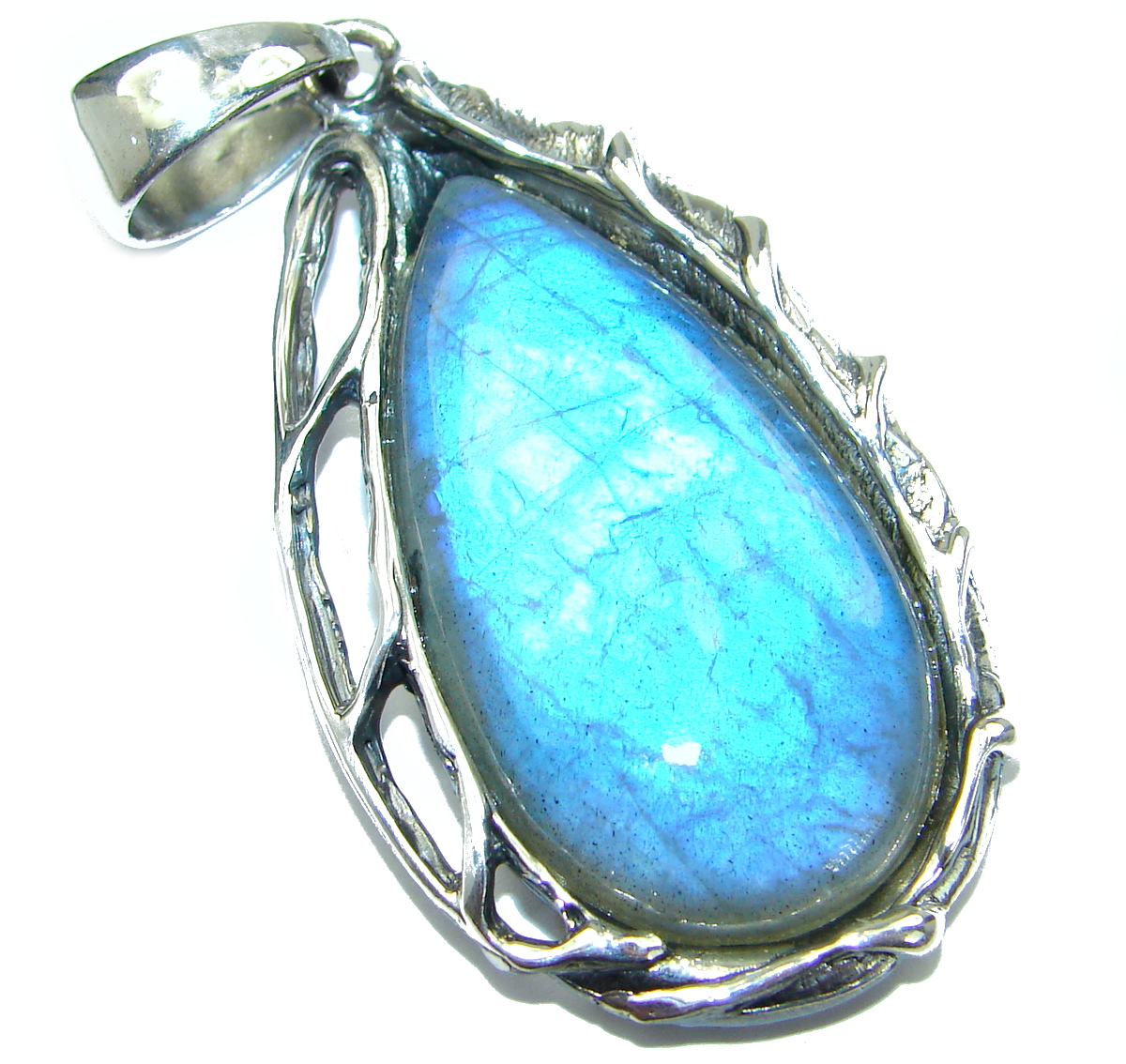 Enchanted Power genuine Fire Labradorite .925 Sterling Silver handmade Pendant