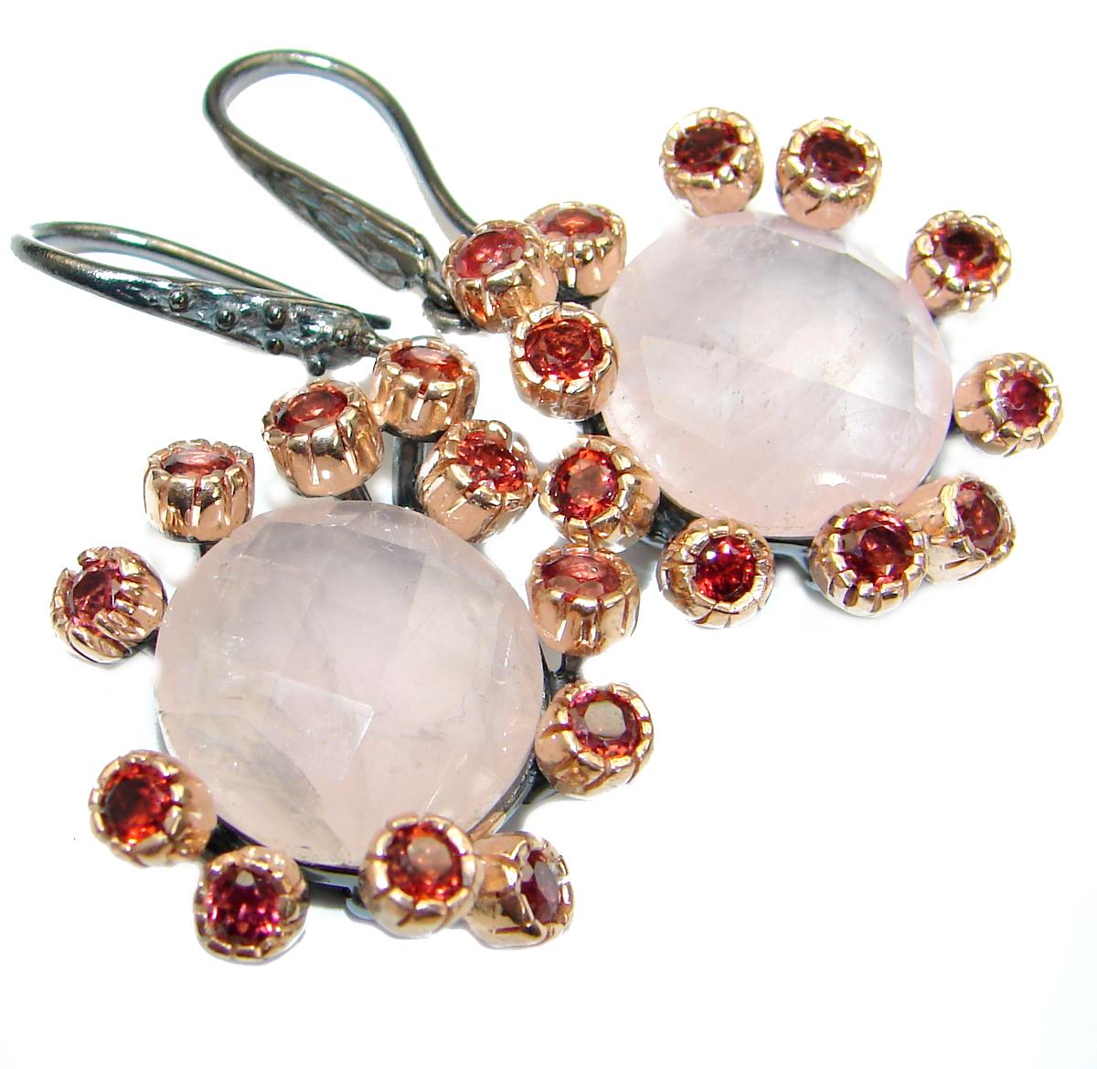 Luxury Rose Quartz 18K Rose Gold over .925 Sterling Silver handmade earrings