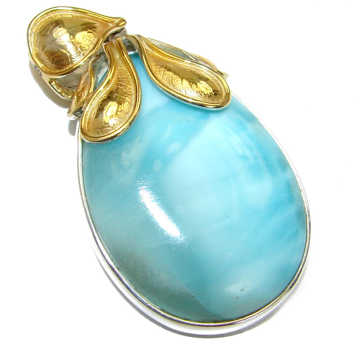 Vintage Design genuine Larimar 14K Gold over .925 Sterling Silver handmade pendant
