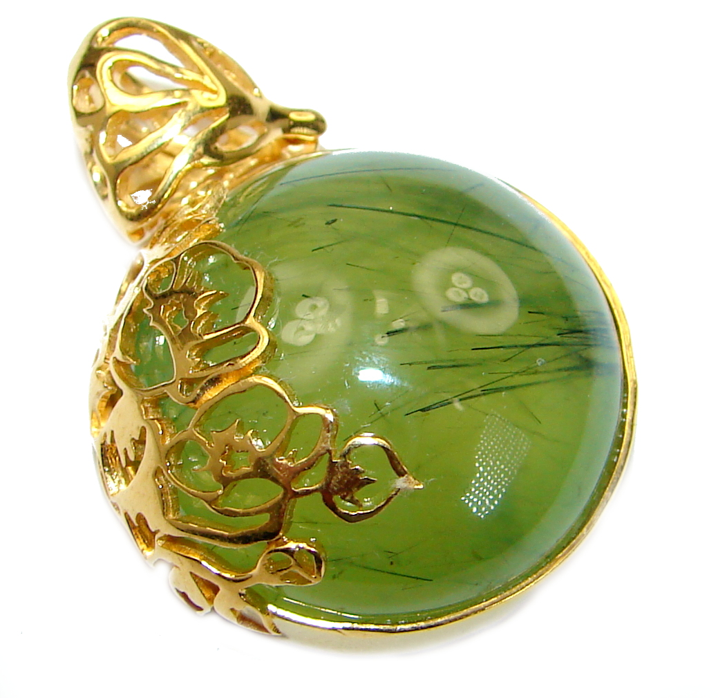 Authentic Moss Prehnite 18K Gold over .925 Sterling Silver handmade pendant
