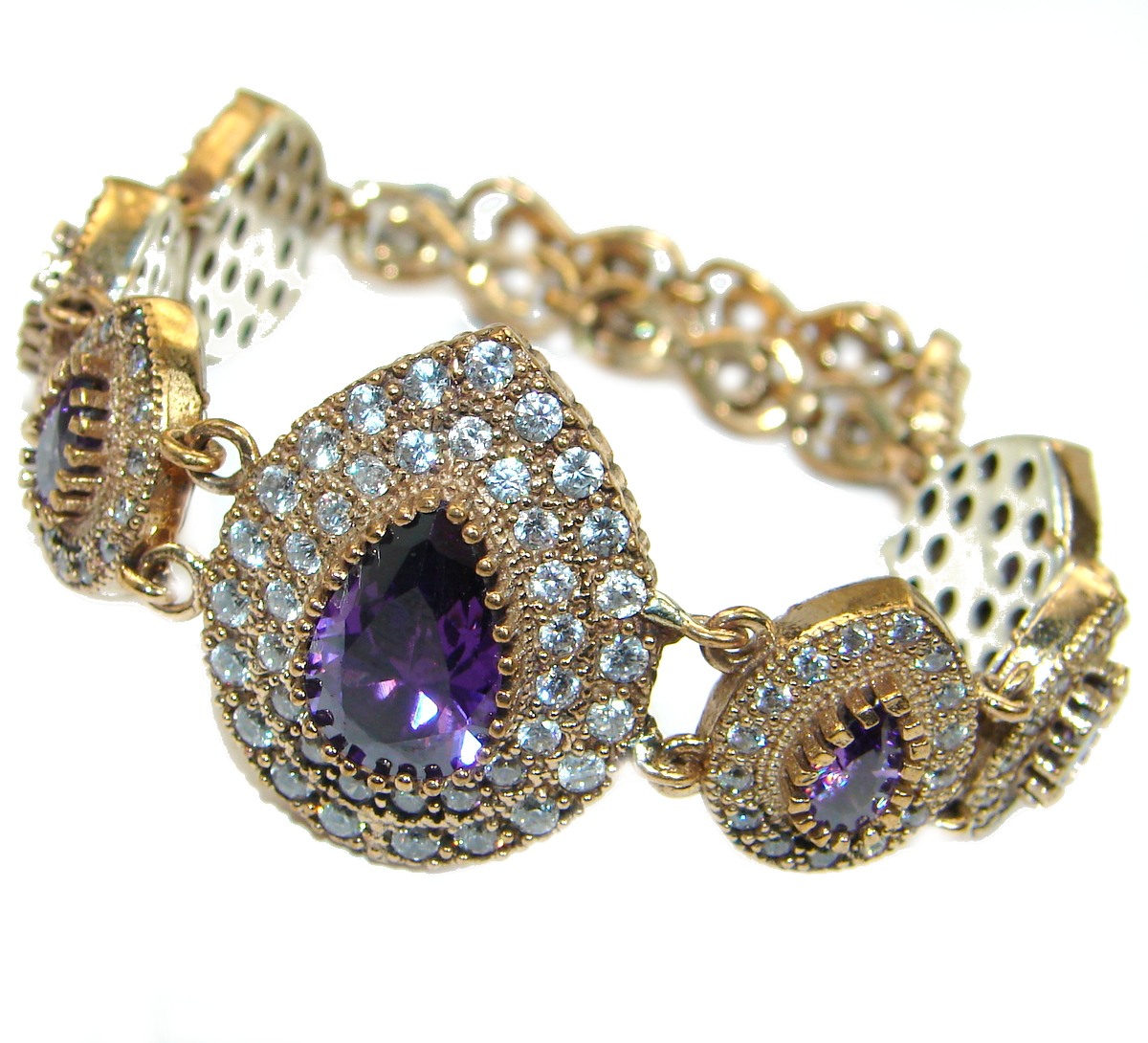 Victorian Style created Amethyst & White Topaz Sterling Silver Bracelet / Cuff