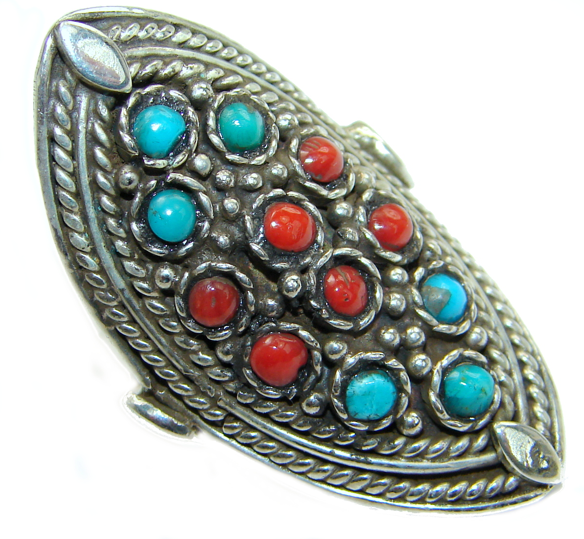 Majestic Authentic Turquoise .925  Sterling Silver handmade Ring s. 6