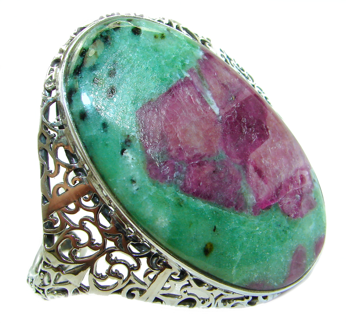 Beauty of Nature Ruby in Zoisite handmade .925 Sterling Silver Bracelet / Cuff