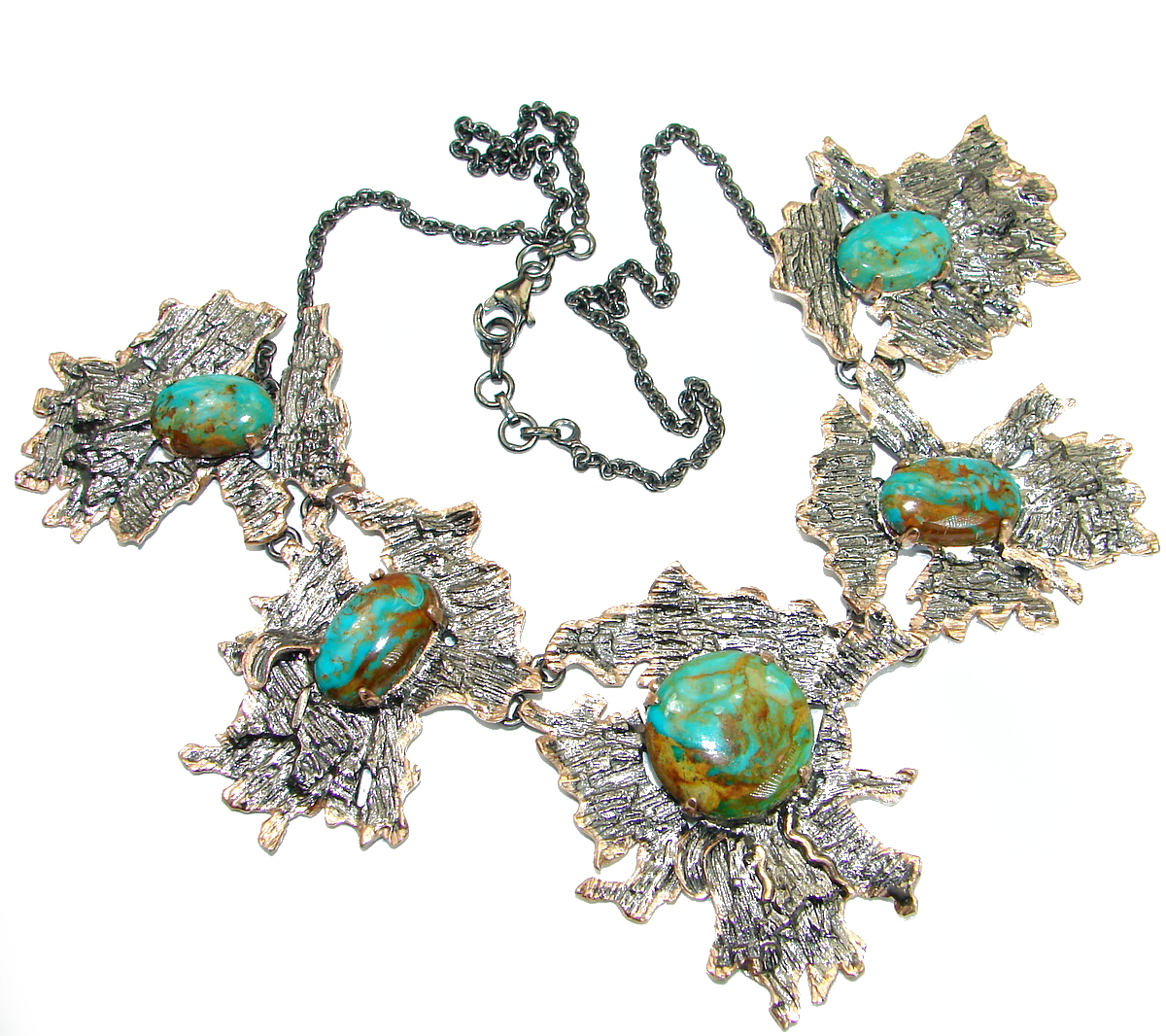 Chunky genuine Turquoise 14K Gold over .925 Sterling Silver handcrafted necklace