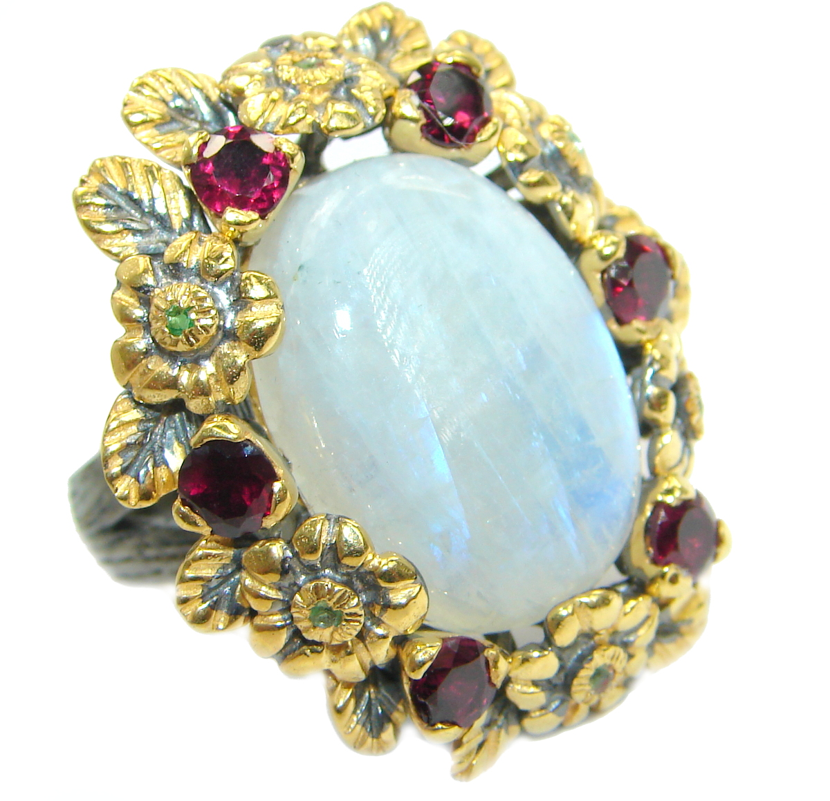 Huge Fire Moonstone Garnet 18K .925 Sterling Silver handcrafted ring size 7