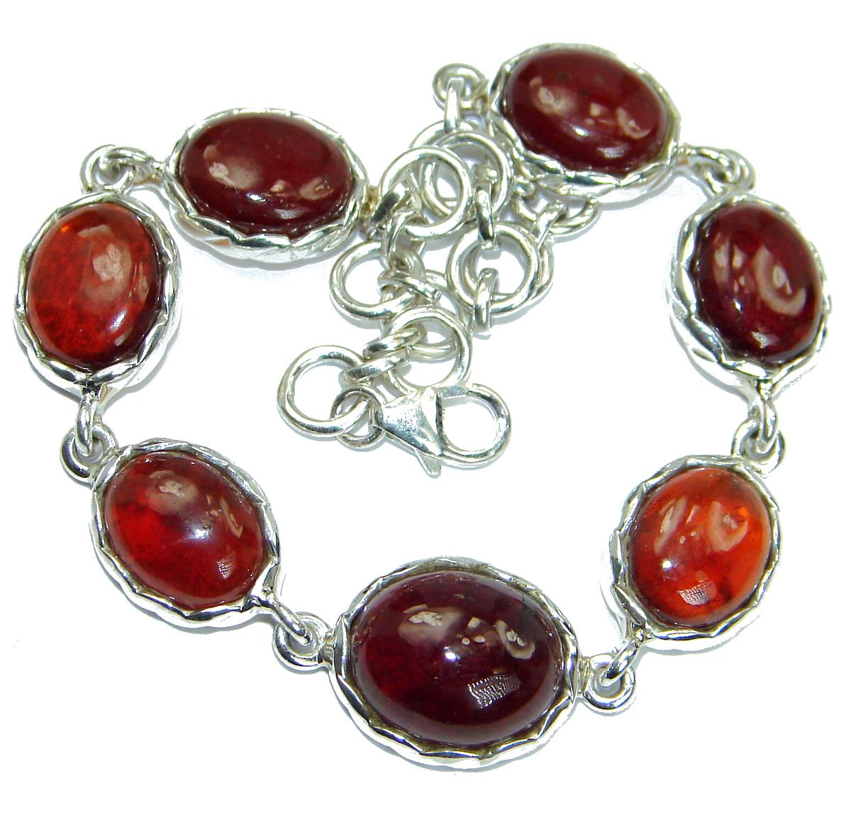 Secret Rhodolite Garnet .925 Sterling Silver handcrafted Bracelet