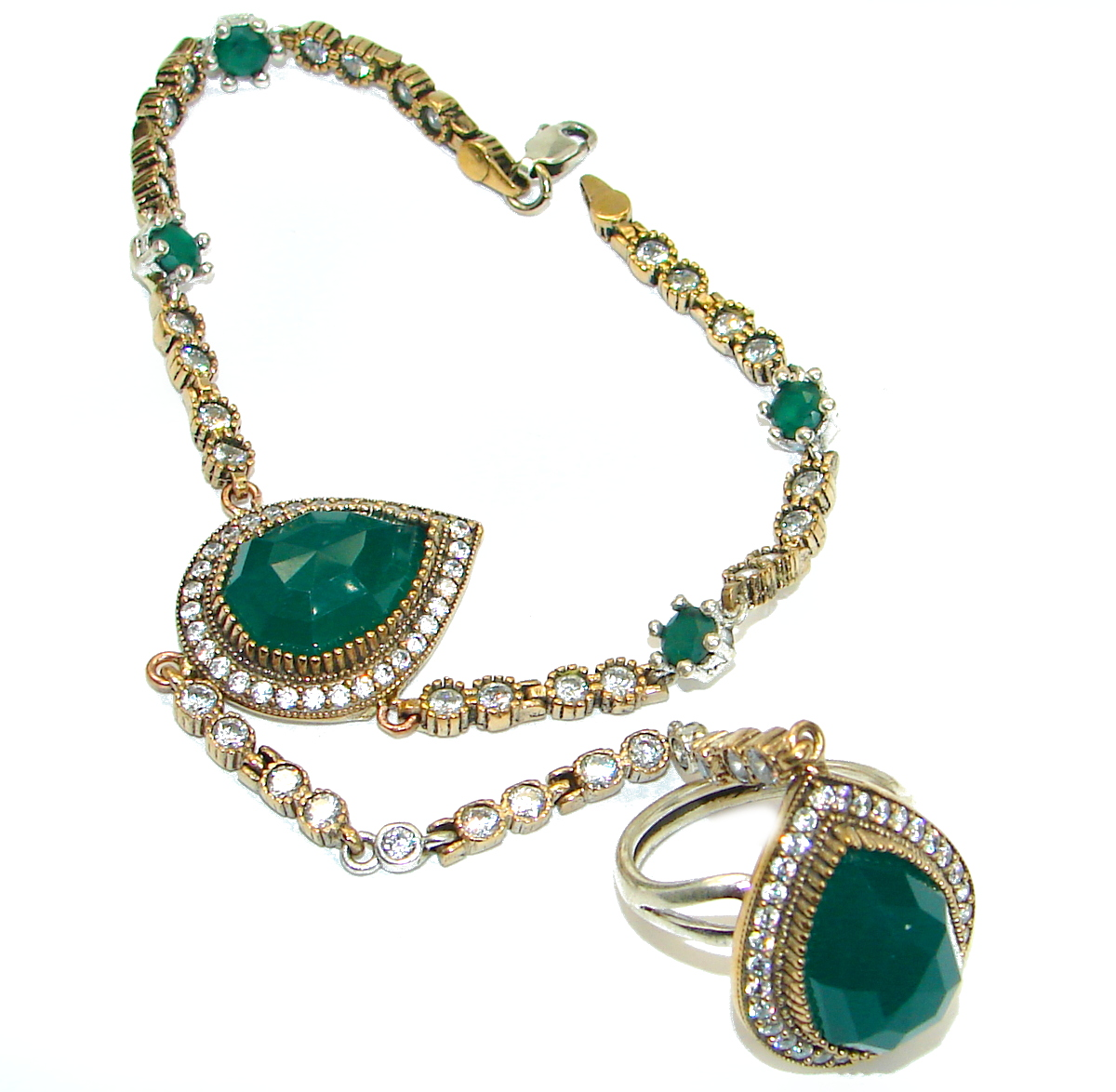 Victorian Style Created Emerald & White Topaz copper covered Sterling Silver Bracelet / Cuff