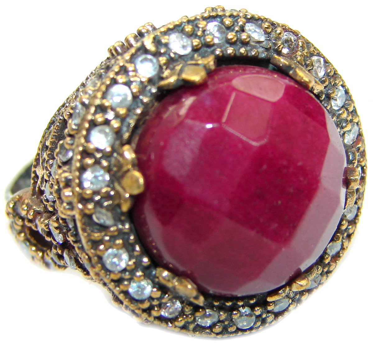 Large Victorian Style created Ruby Two Tones .925 Sterling Silver ring; s. 8 1/4