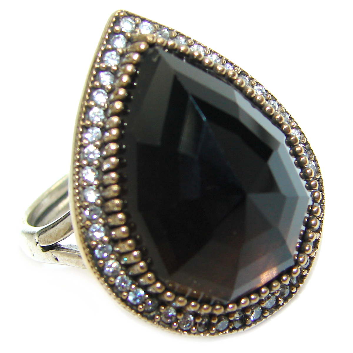 Large Victorian Style created Ruby Two Tones .925 Sterling Silver ring; s. 7 adjustable