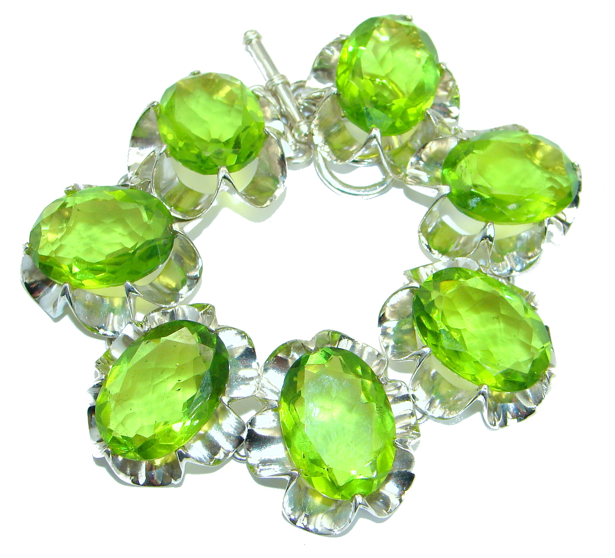 Huge Rich Green Ocean Quartz .925 Sterling Silver handmade Bracelet