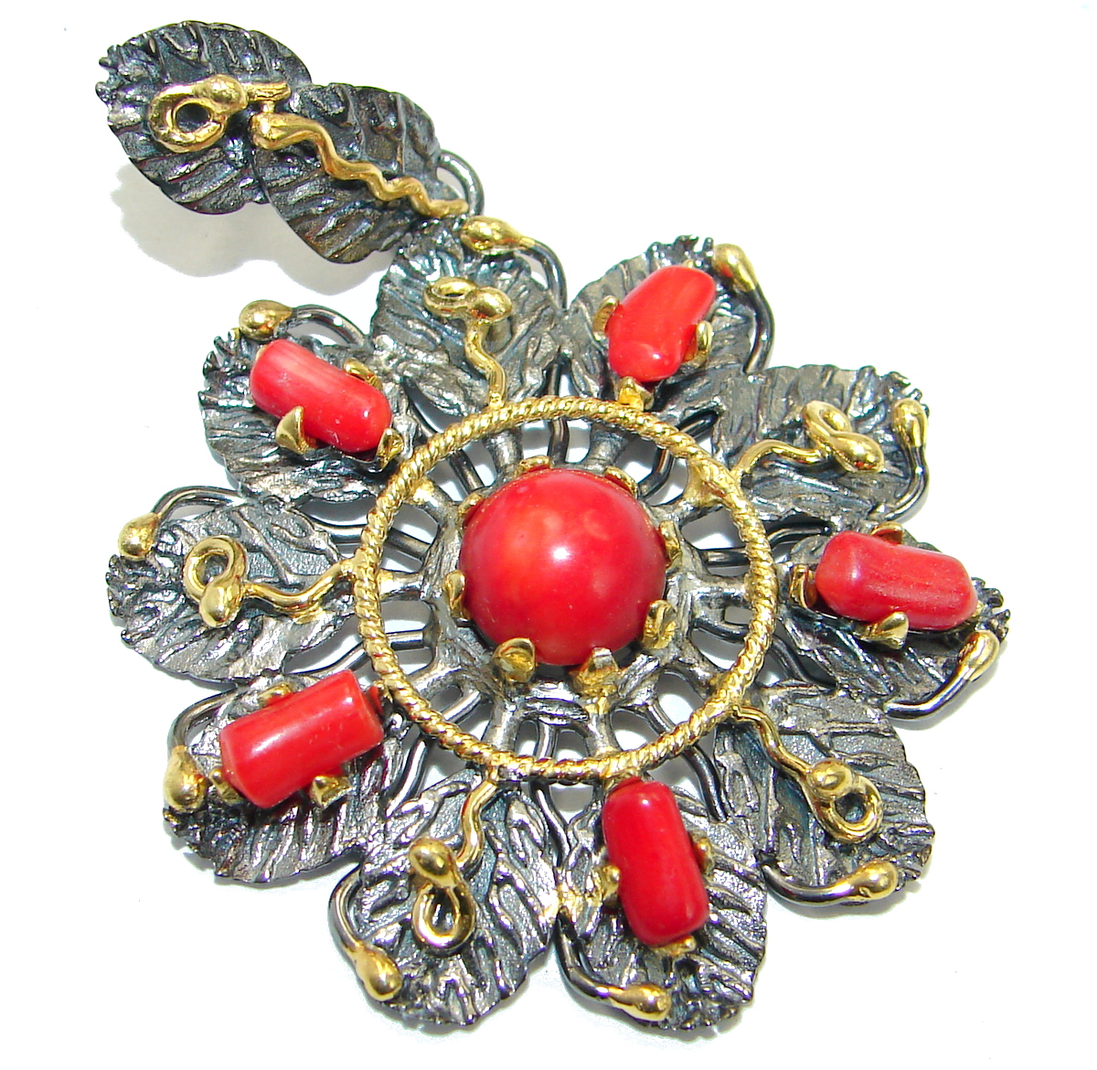 Authentic Red Fossilized Coral Gold Rhodium over .925 Coral Sterling Silver ..