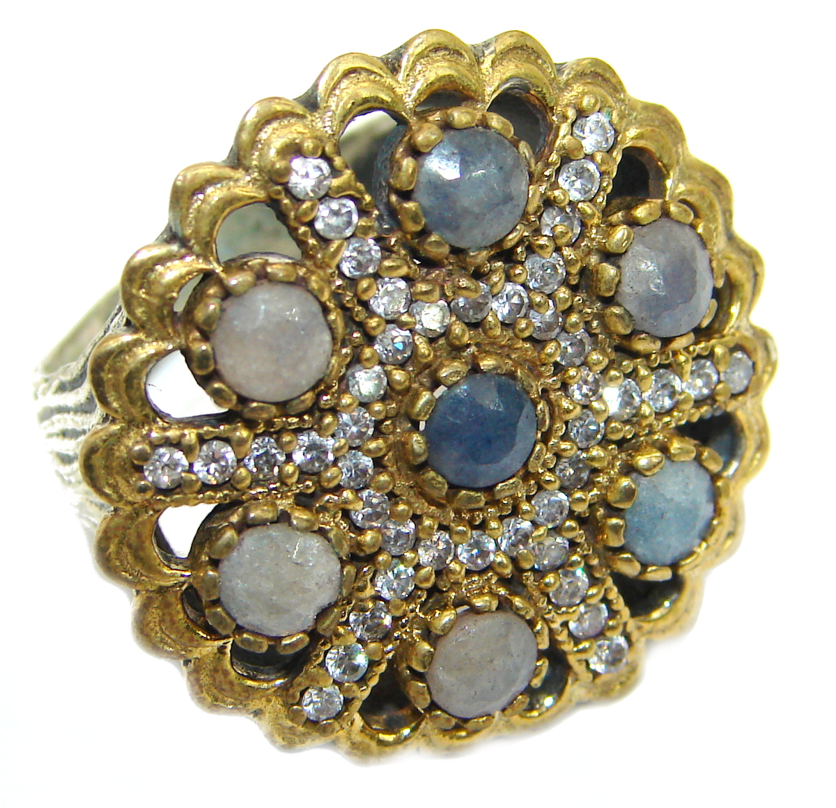 Large Victorian Style created Sapphire & White Topaz Sterling Silver ring; s. 6 3/4