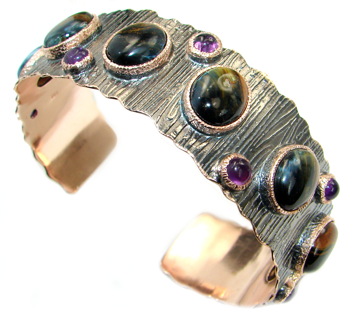 Simply Gorgeous Golden Tigers Eye Rhodium Gold over .925 Sterling Silver Bracelet / Cuff