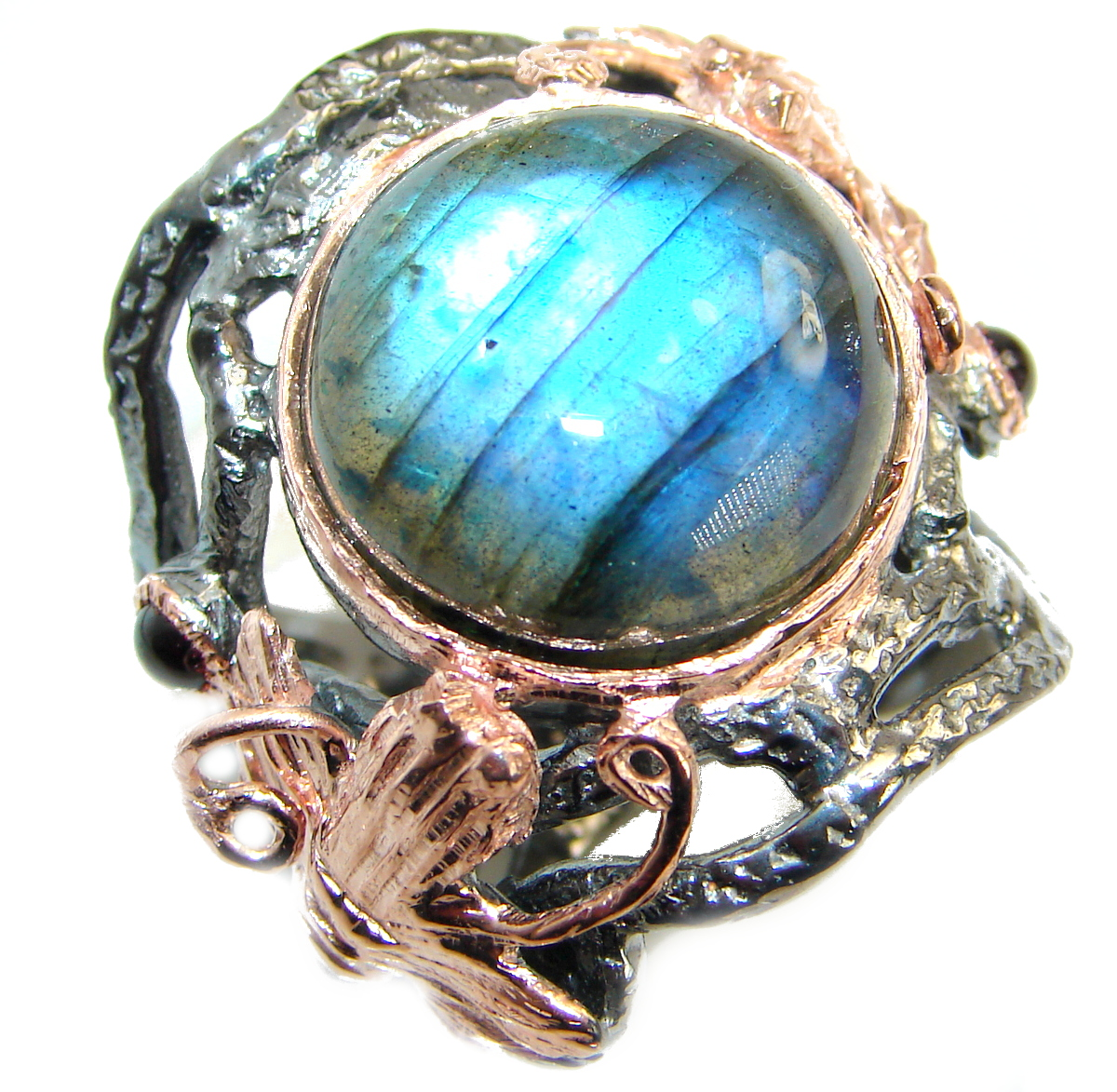 Large Fire Labradorite Rose Gold over .925 Sterling Silver handmade ring size 7
