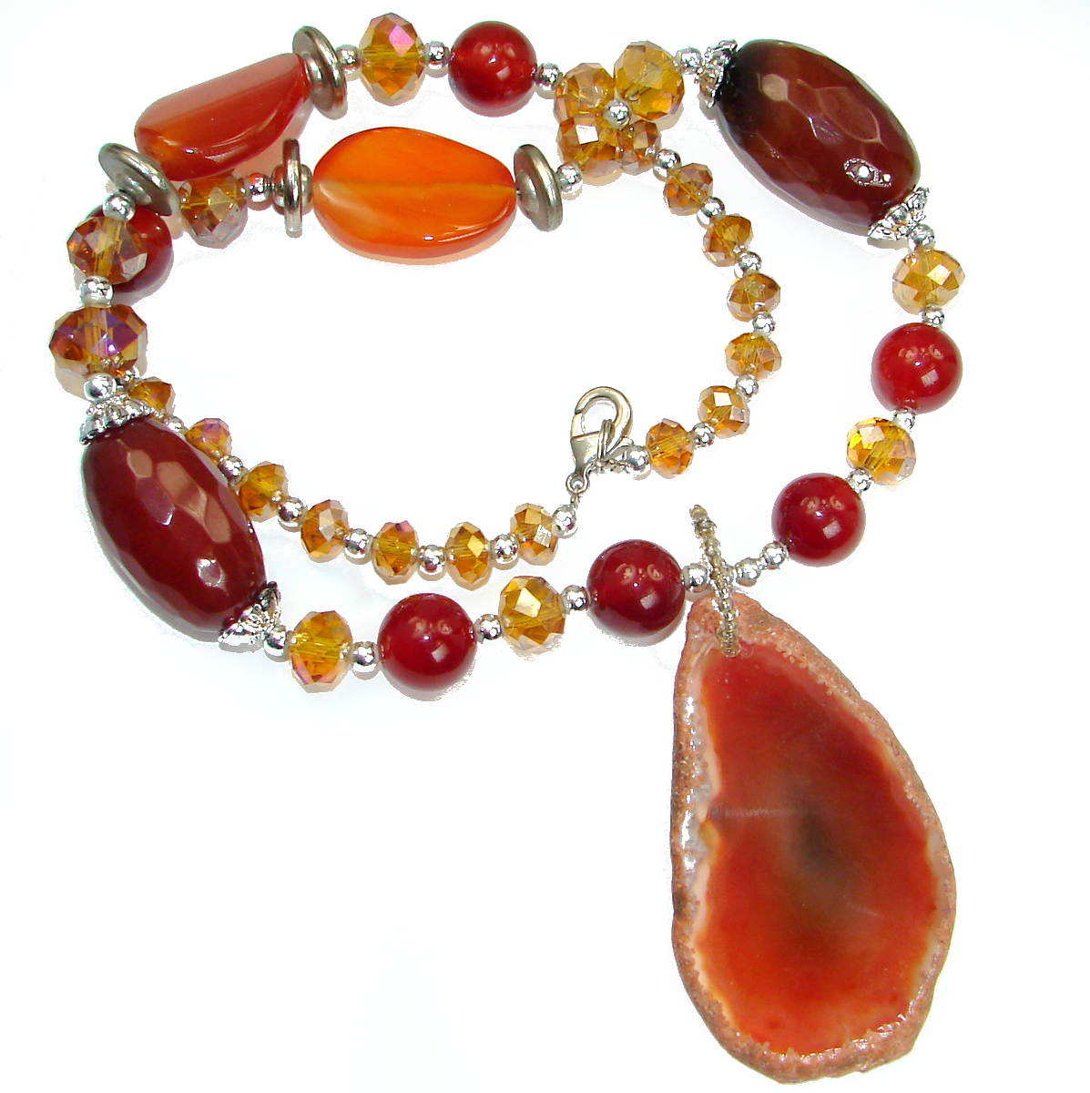 Love And Friendship Orange Carnelian .925 Sterling Silver Necklace
