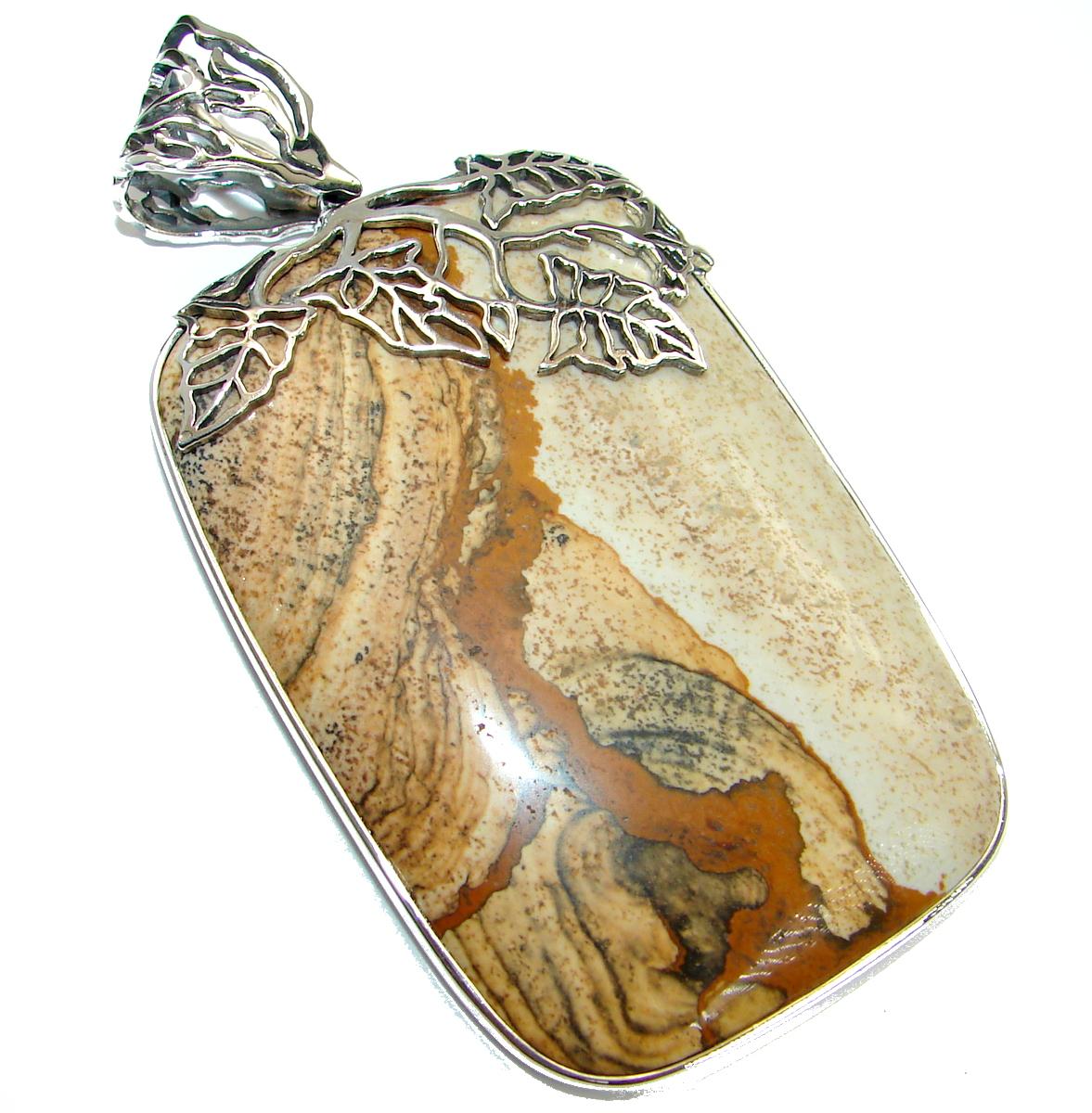 Huge 35.9 grams Classy Picture Jasper .925 Sterling Silver handmade Pendant