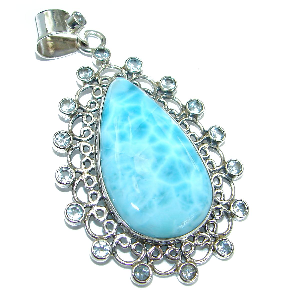 Huge Blue Beauty genuine Larimar .925 Sterling Silver handmade pendant