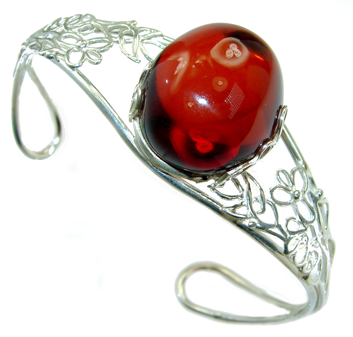 Gorgeous Classic Design Polish Amber Sterling Silver Bracelet / Cuff