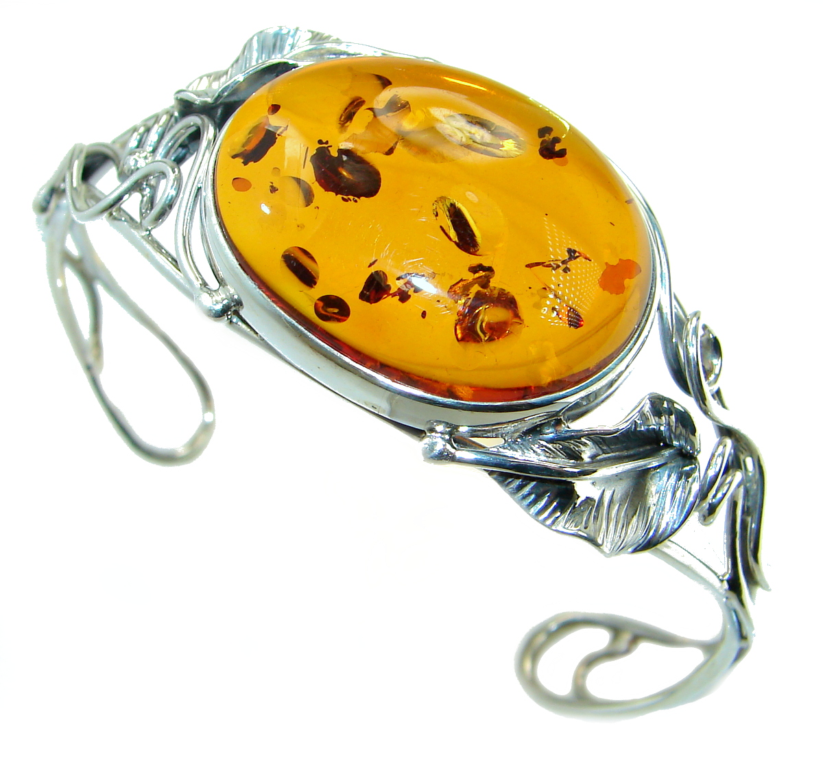 Cognac Color  Genuine Polish Amber .925 Sterling Silver handamde Bracelet / ..