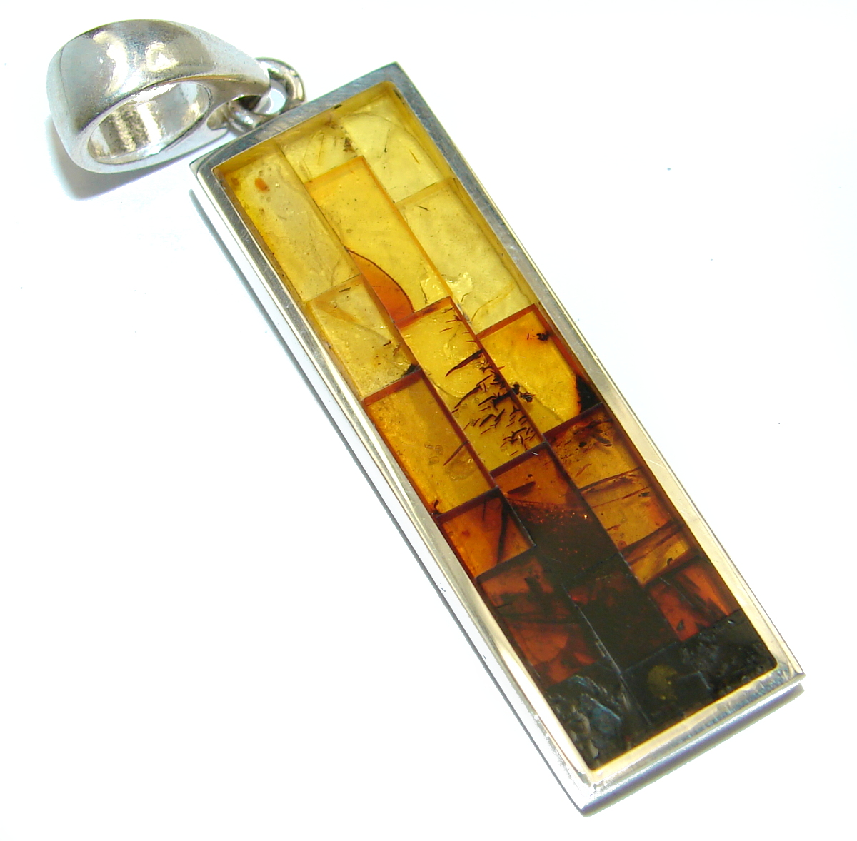 Excellent Mosaic Polish Amber  .925 Sterling Silver handcrafted Pendant