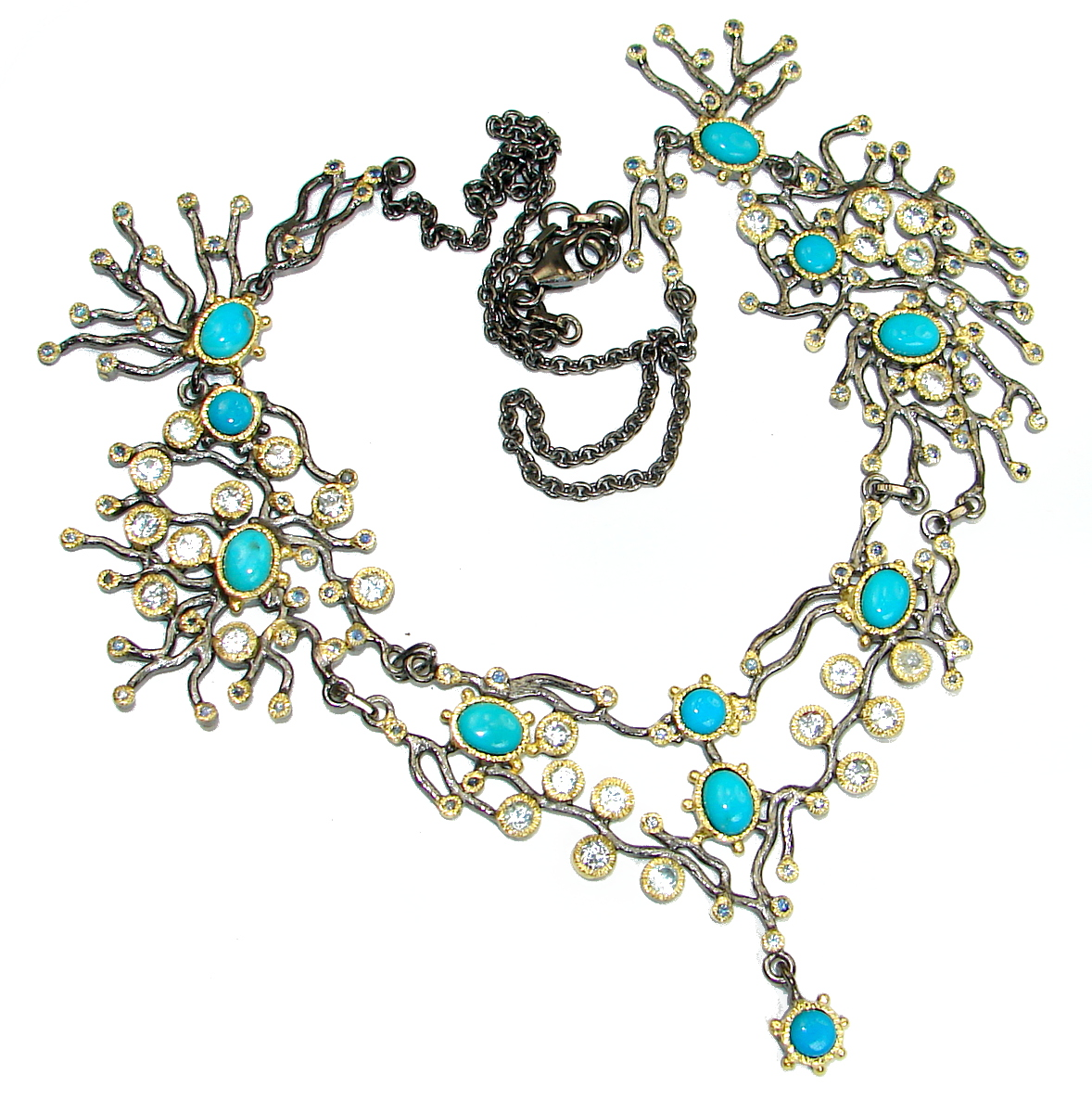 Ocean Halo genuine Sleeping Beauty Turquoise Topaz 14K Gold over .925 Sterling Silver handmade necklace