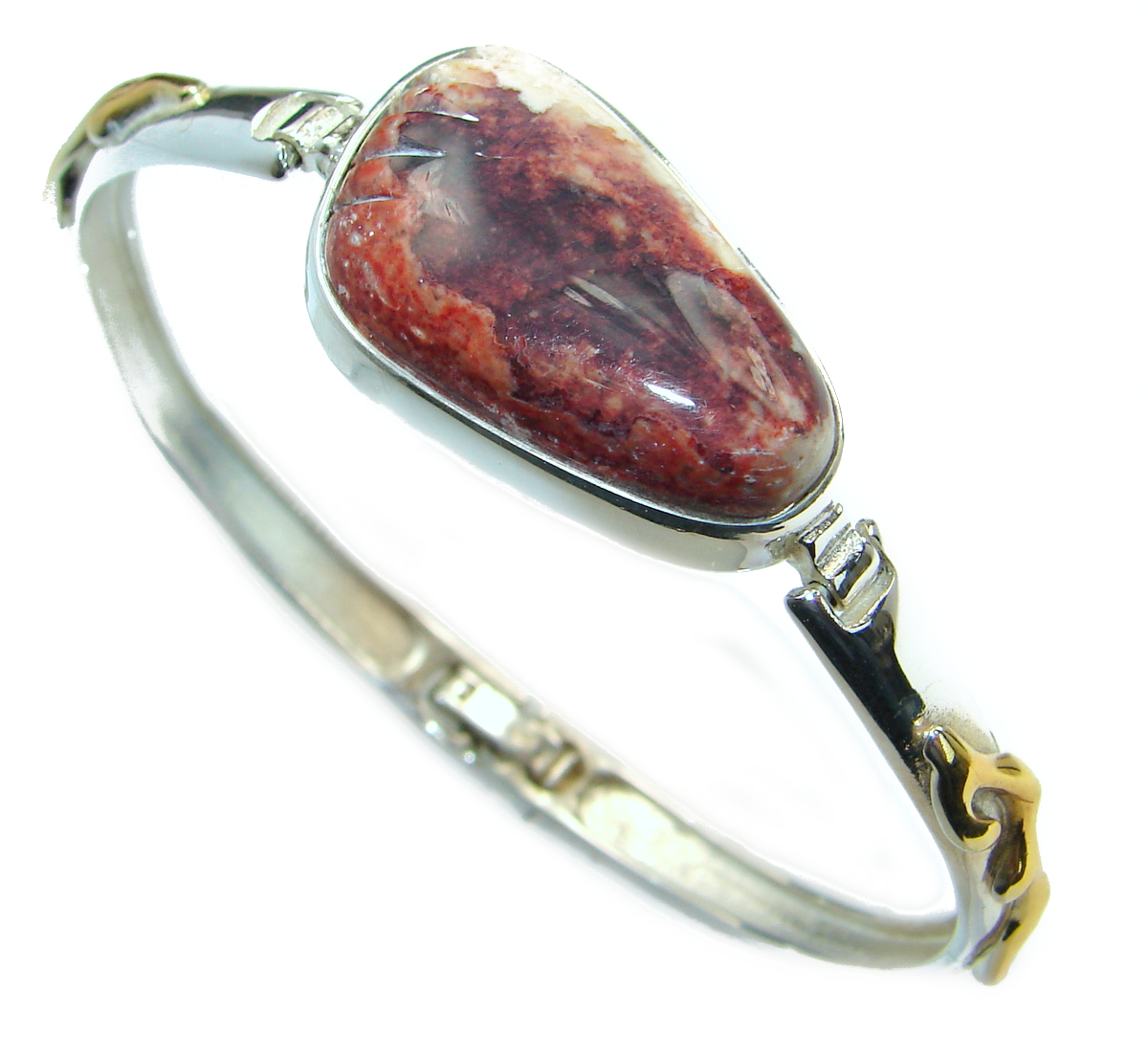 Handmade Artisan Sterling Silver 925 Bracelet with unique one of a kind Mexican Fire Opal,  15.80 grams of marvelous handcrafted jewelry design. Only one piece availble ready to ship! It's unique worldwide bracelet - simply piece of art in world of fine jewelry. Authentic Mexican Opal .925 Sterling Silver handcrafted Bracelet  BRACELET DETAILS: Weight: 15.80g; Material: Sterling Silver; Main stone: Mexican Fire Opal; Other stones: ; Width (widest section): L - 3/4, w - 1 1/4, T - 1/4 inch; Inner circumference: 6-8 inch; Clasp: hidden; Stamp / Mark: 925; Condition: New; Main color: orange; Shape: abstract; Collection: In to The Woods;  Item Code: 31-sie-18-112