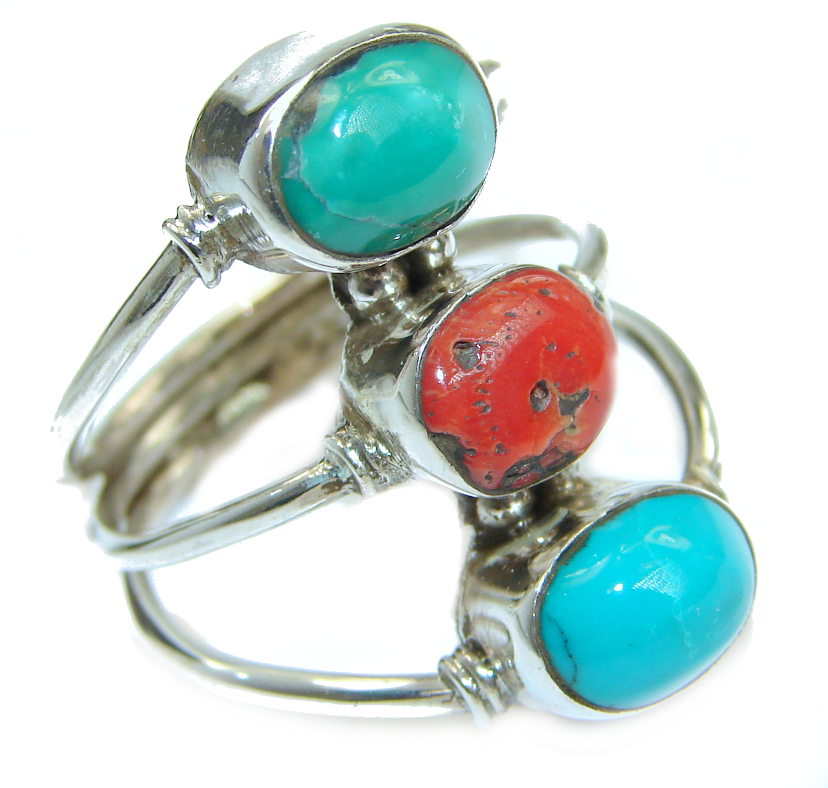 Natural  Fossilized Coral Turquoise .925 Sterling Silver handmade ring s. 10