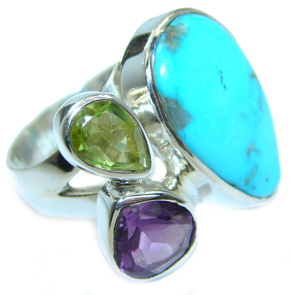 Sleeping Beauty  Turquoise   .925  Sterling Silver handcrafted  Ring size 7 ..