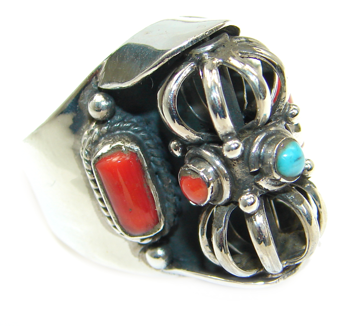 Natural Fossilized Coral Turquoise .925 Sterling Silver handmade ring s. 9