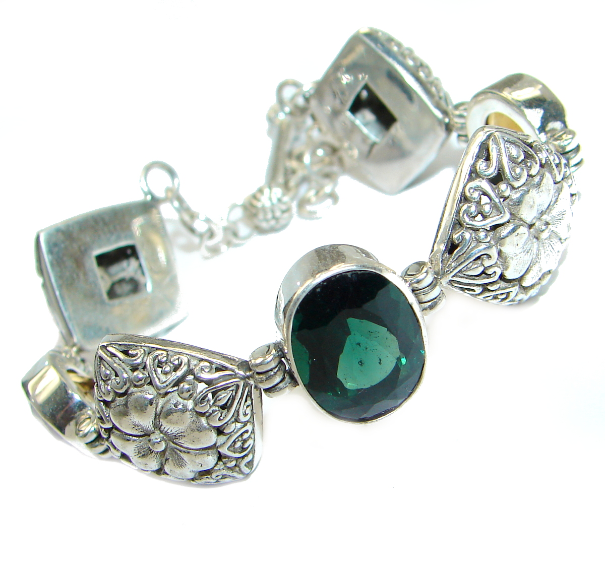 Rich Green Quartz .925 Sterling Silver handmade Bracelet