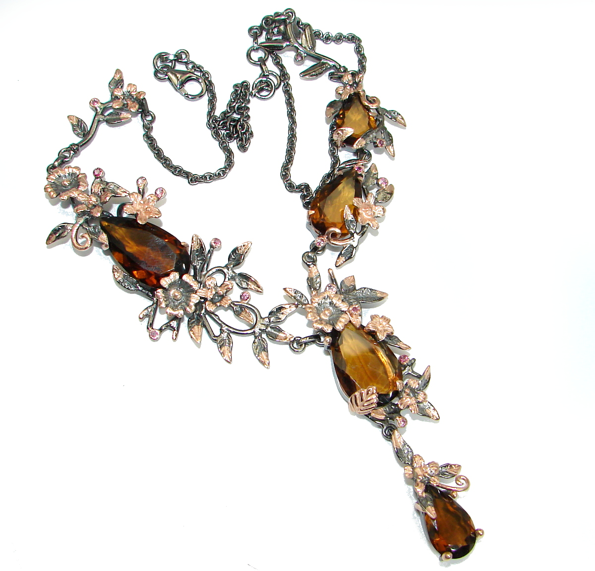 Rain Drops natural Smoky Topaz Rose Gold over .925 Sterling Silver handmade necklace