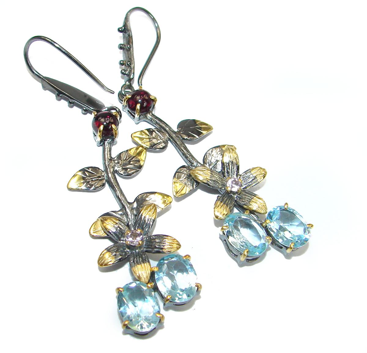Rich Design Swiss Blue Topaz .925 Sterling Silver handcrafted earrings