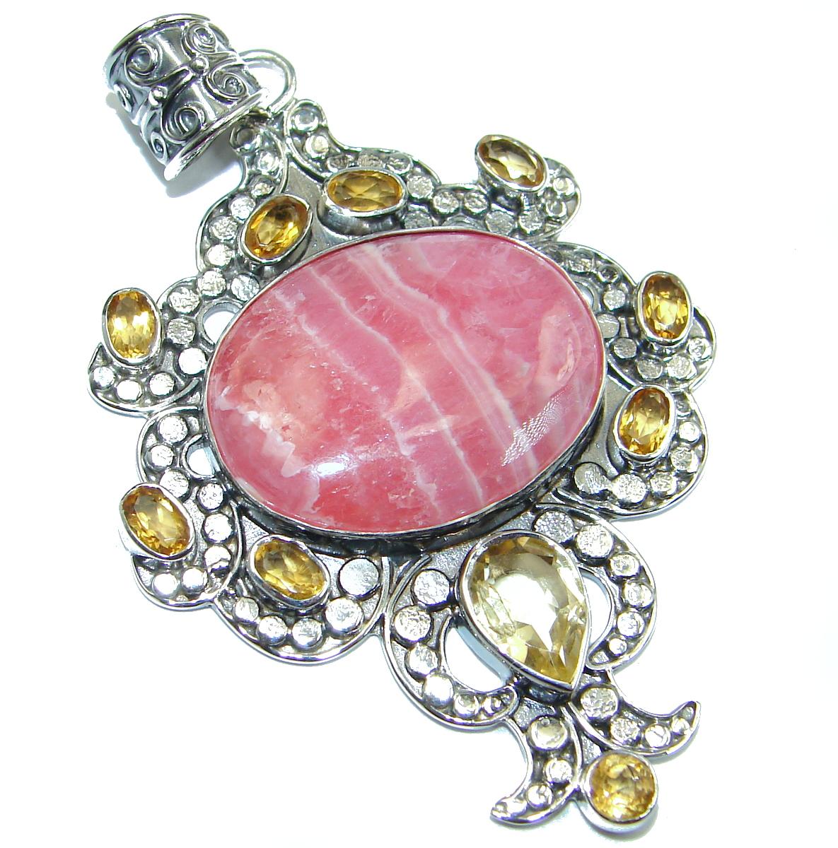 Genuine Rhodochrosite .925 Sterling Silver handmade Pendant