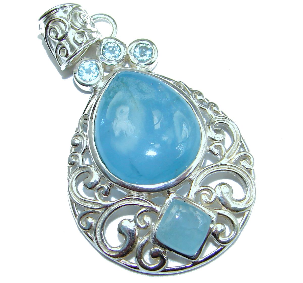 Genuine Aquamarine .925 Sterling Silver handmade Pendant