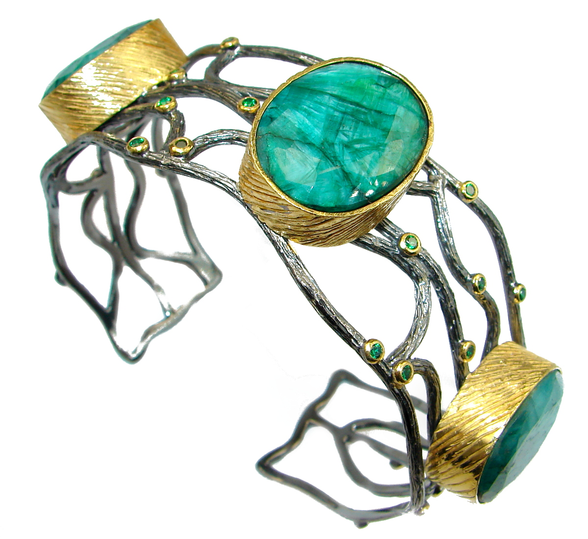 One in the World Sapphire Emerald Gold over .925 Sterling Silver Bracelet / Cuff