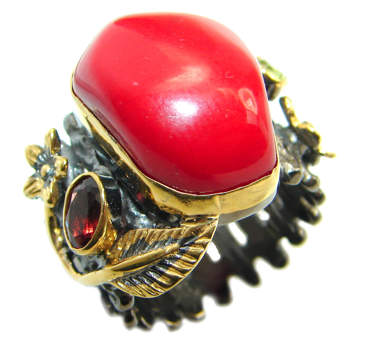 Natural  Fossilized Coral two tones .925 Sterling Silver handmade ring s. 6