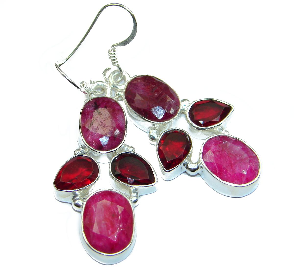 Unique Ruby .925 Sterling Silver handmade earrings