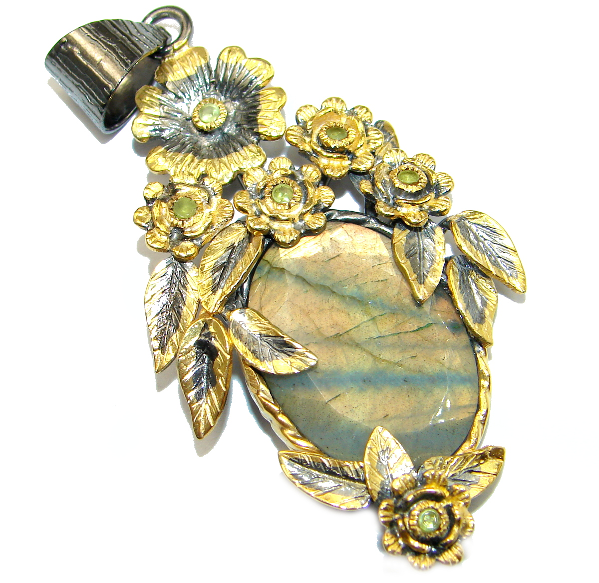 Flower Design genuine Fire Labradorite .925 Sterling Silver handmade Pendant