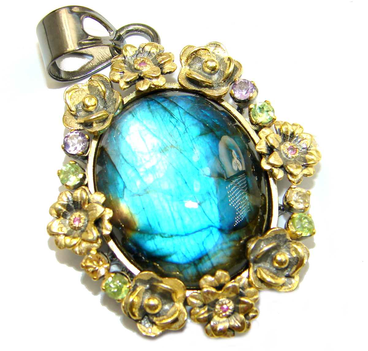 True Power genuine Fire Labradorite  14K Gold over .925 Sterling Silver hand..