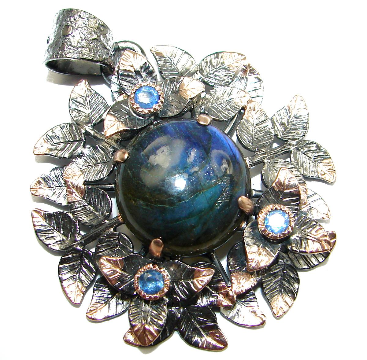 Fire Labradorite 14K Gold over .925 Sterling Silver handmade Pendant