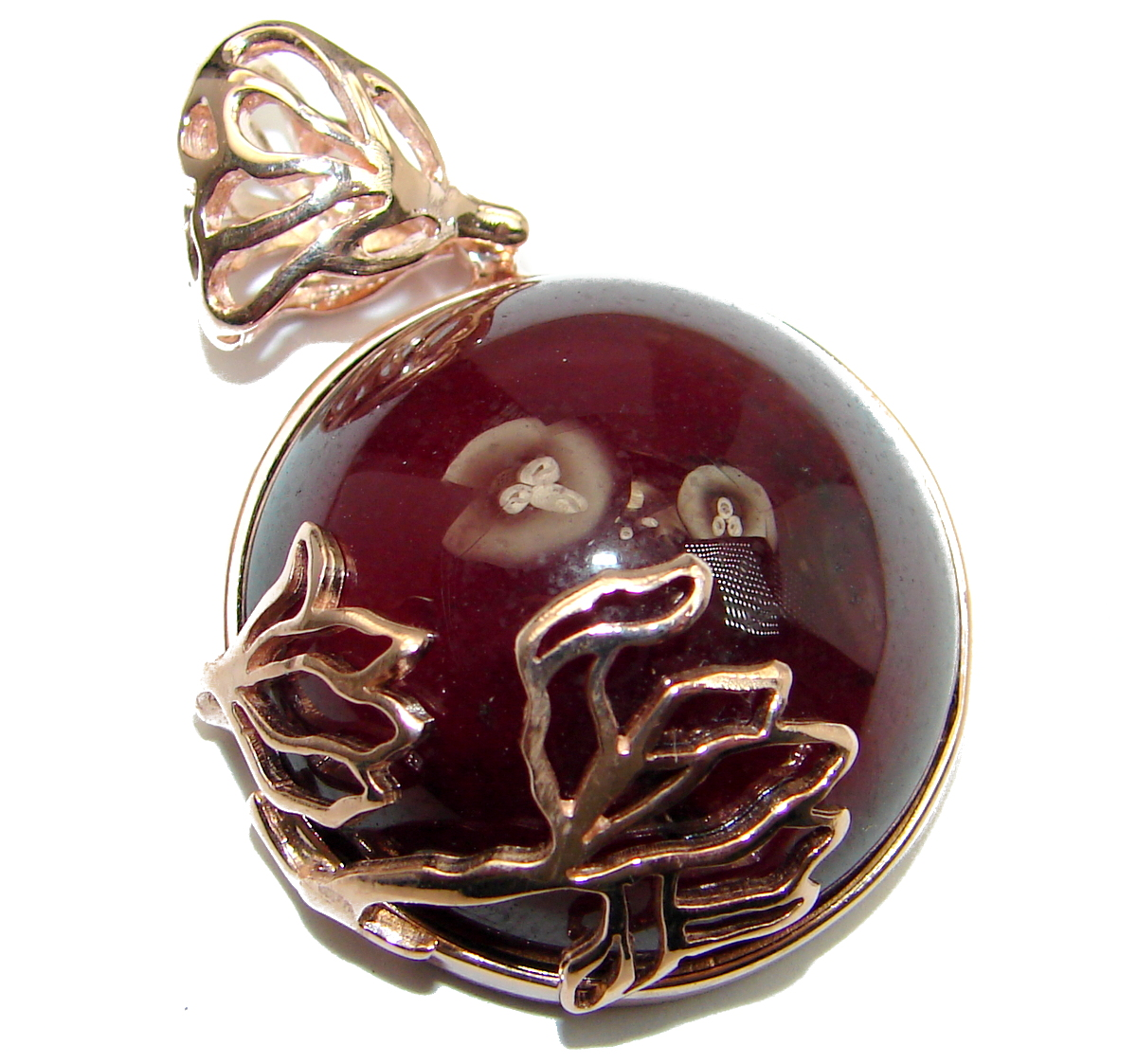 Beautiful genuine 65ct Garnet 18ct Rose Gold over .925 Sterling Silver handcrafted Pendant