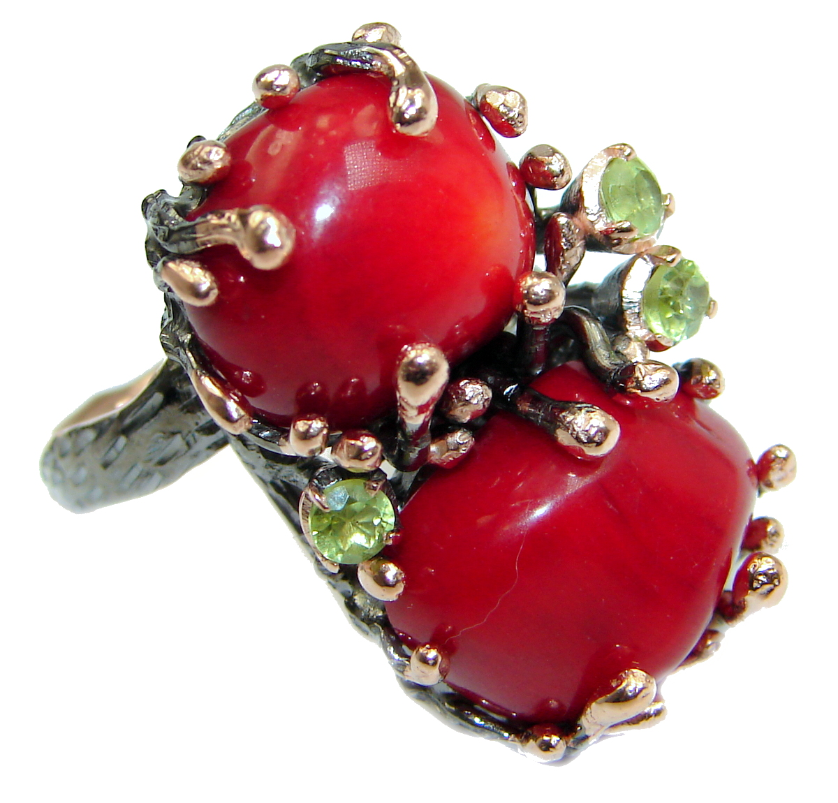 Natural  Fossilized Coral 14K Gold over  .925 Sterling Silver handmade ring ..