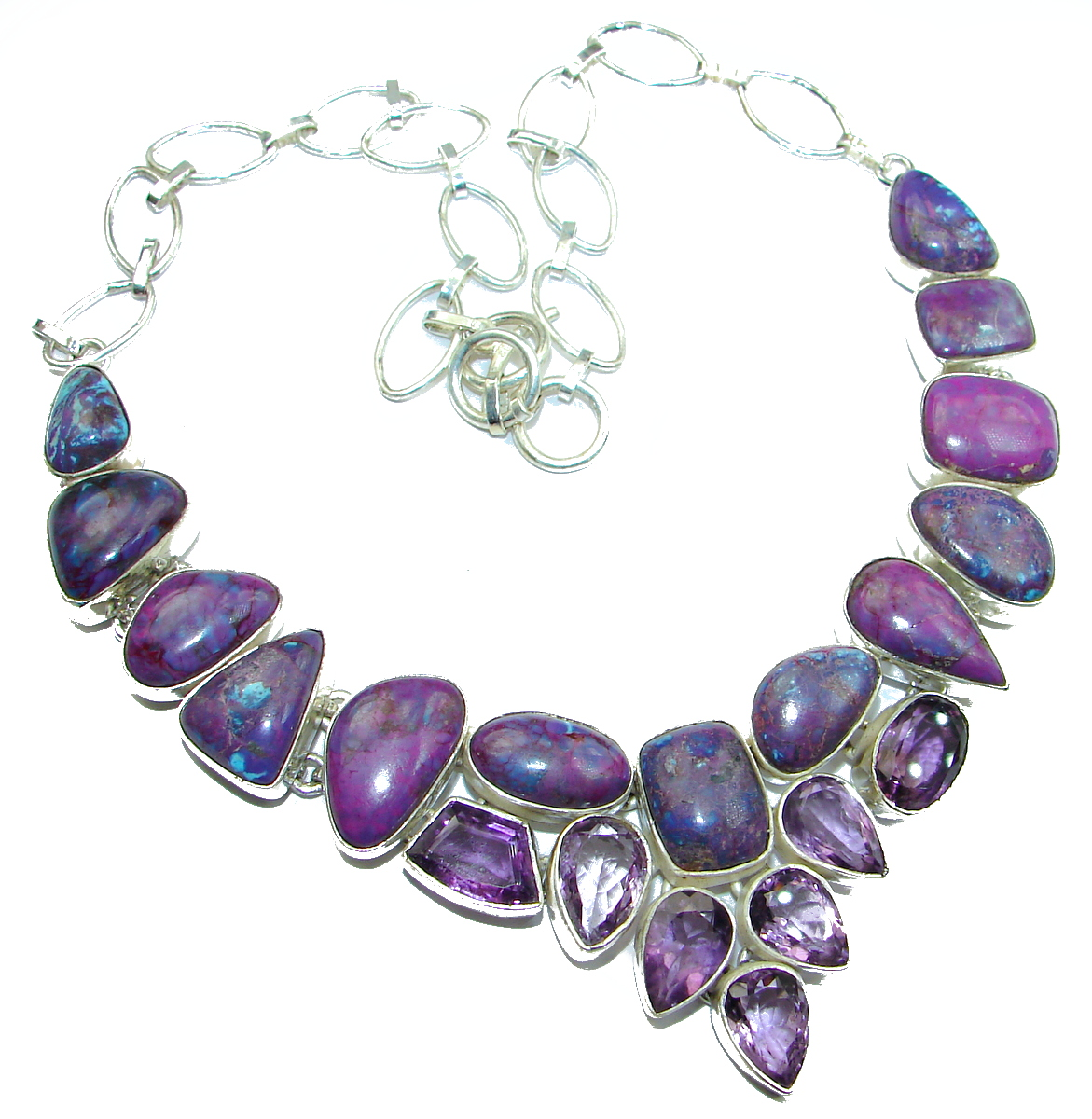 Huge Boho Style Purle Turquoise .925 Sterling Silver handcrafted necklace