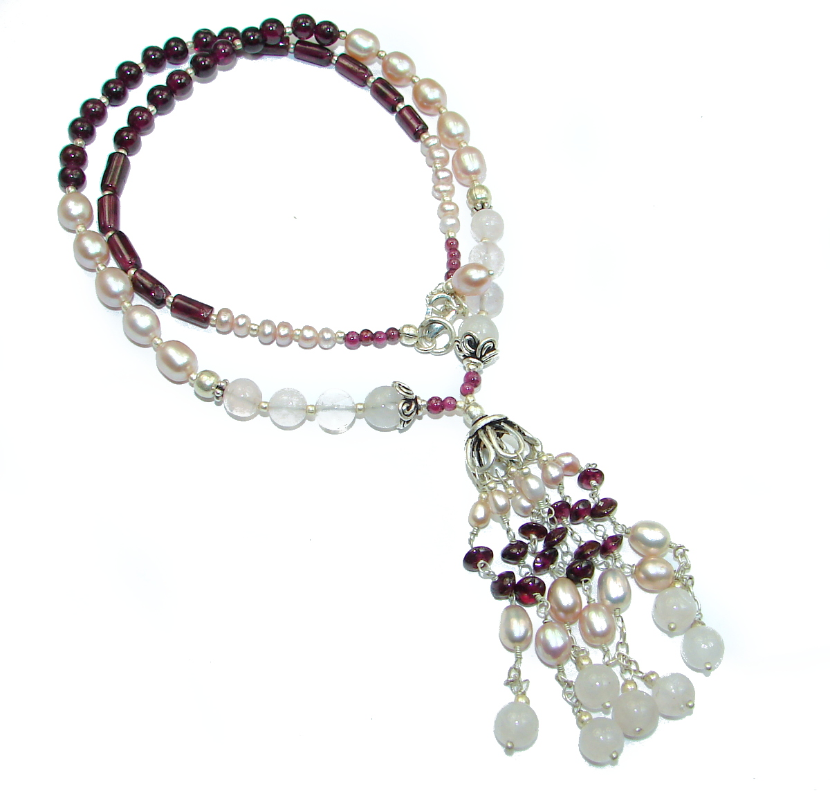 Classy Natural Mother of Pearl .925 Silver HANDMADE Necklace