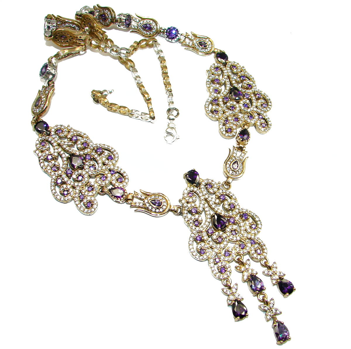 Victorian Style Created Dark Sapphire & White Topaz Sterling Silver necklace