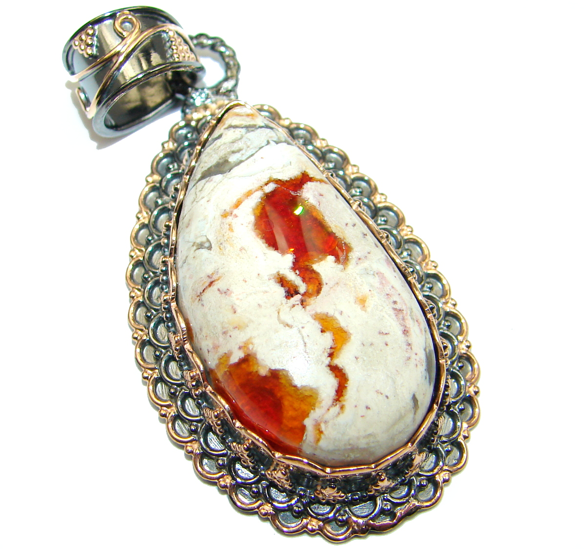 INCREDIBLE Natural Mexican Fire Opal  .925 Sterling Silver handmade Pendant