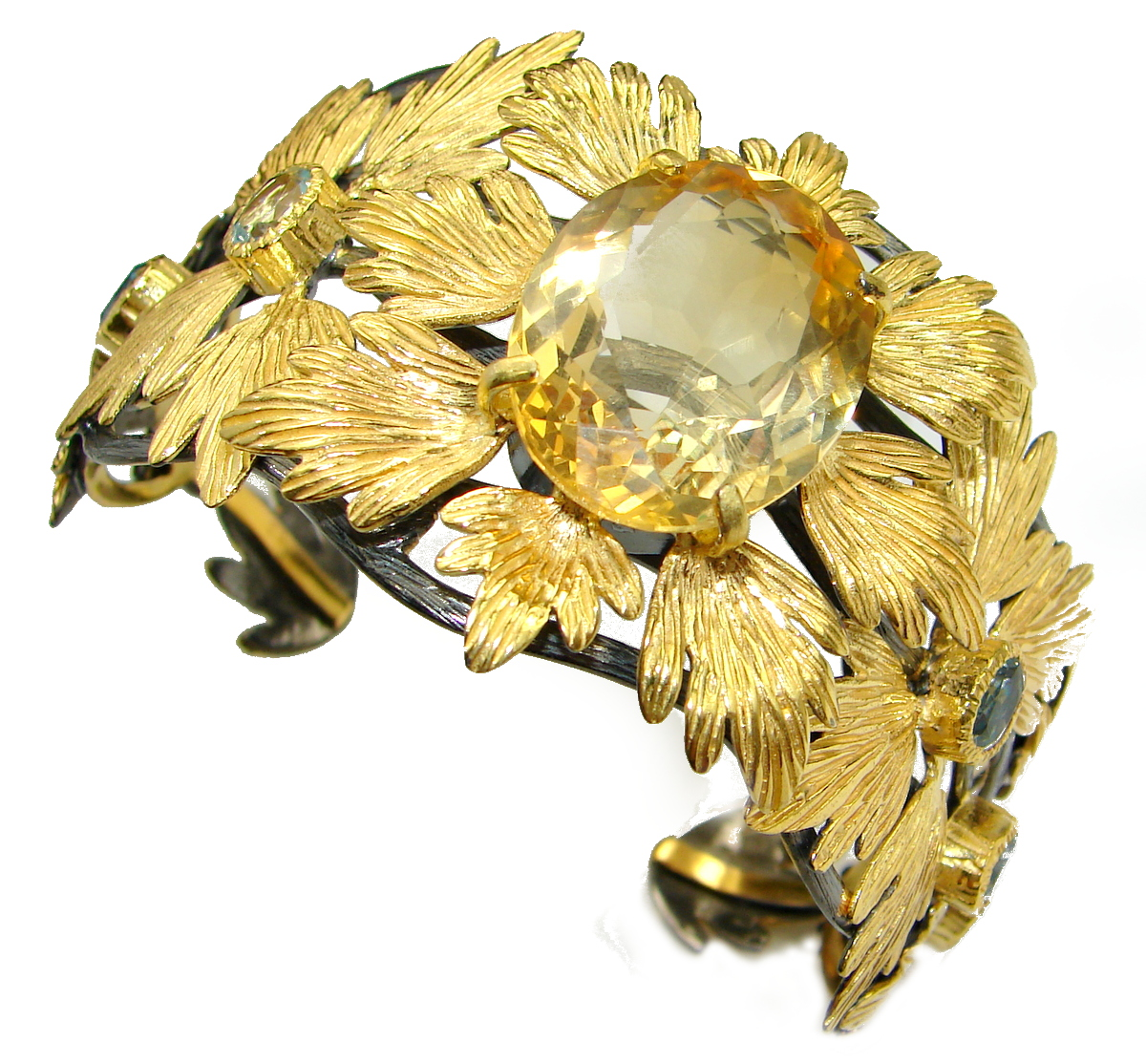 Spectacular Genuine Citrine 14K Gold over .925 Sterling Silver Bracelet / Cuff